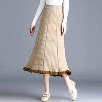 Röcke plus Größe Vintage Plissee Rock Frauen Stricken Hohe Taille Eine Linie Weiche Beiläufige Elegante Schwarz Streetwear Frühling Mode Midi Saia