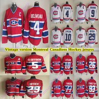 Montreal Canadiens Vintage version jerseys 4 BELIVEAU 29 DRYDEN 5 GEOFFRION 9 RICHARD 10 LAFLEUR 93 STANLEY CUP 77 TURGEON CCM Hockey jersey
