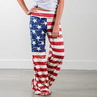 Pantalons Femmes Capris Drapeau américain Print Palazzo Joggers Femme Sports Femmes Pour Femmes Pantalons Pantalon à jambe large Pantalon de taille haute # 3
