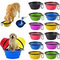 Pieghevole Pet Feeding del piatto la ciotola del cane del gatto di viaggio pieghevole Pop Up Compact silicone Viaggi Feeder contenitore di alimento contenitore di alimento 100pcs OOA6206