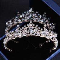 Shinning 공주 청동 골드 크리스탈 브라 Tiaras 크라운 신부 Headpieces 브라 액세서리 웨딩 Tiaras / Crowns T302515