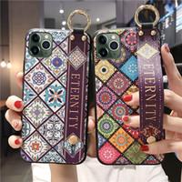 아이폰 7 8 6 6s 플러스 12 미니 11 Pro max 케이스에 대한 손목 끈 케이스 XR x XS 최대 꽃 부드러운 TPU 전화 홀더 케이스 커버