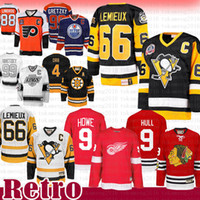 TOP VENTE Mario Lemieux 66 Penguins de Pittsburgh chandail de hockey CCM 9 Bobby Hull Blackhawks de Chicago Gordie Howe Red Wings de Detroit Soins Maillots