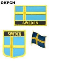 Schweden-Flagge Patch Abzeichen 3pcs ein Satz Patches für Kleidung DIY Dekoration PT0148-3