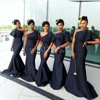 Africano preto sereia brdesmaid vestidos 2020 um ombro varredura trem ruffles grânulos jardim país casamento vestidos vestido de honra