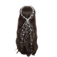 Accessoires De Cheveux De Mariage De Cristal De Mariée Perle Fleur Bandeau À La Main Hairband Perles Décoration Peigne À Cheveux Pour Les Femmes JCG158