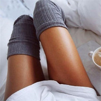 Inverno tenere in caldo delle donne della ragazza alta della coscia del ginocchio calzini del cotone delle signore di avvio polsini Warmer Knit Leg lunghe Calze