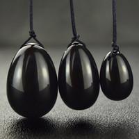 Natürliche Crystal Black Obsidian Quarz Yoni Eier für Frau Vagina Healing Massage Kristall Natürliche Power Stone Yoni Ei-Geschlechts-Spielzeug