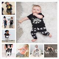 الاطفال مصمم الملابس بنات الإضافية الملابس يحدد الدعاوى الصيف الطفل بنين بوتيك القميص سروال تتسابق الحيوان الوليد طباعة بلايز سروال B4344