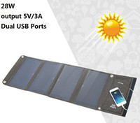 Dual USB Ports 28W Solar Panel Charger Portable Output 5V 3A...