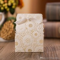 Düğün Favor Sahipleri Şeker / Çikolata Çanta Lazer Kesim Beyaz Kağıt Kurdela ile Düğün Hediye Kutuları DB-FH0014