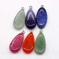 Neue Naturstein Wassertropfen Form Anhänger Edelstein Kristall Sommer Halskette Anhänger DIY Halskette Flache Perle Mode Halskette