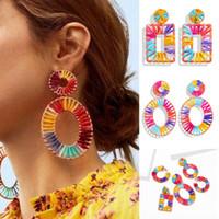 2020 Fashion Tendance Nouveau Femmes Grande Lumière Tissé géométrique Boucle d'oreille en couleurs style bohème Vacances d'été Beach Party Wears
