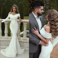 2019 Arabic Mermaid Prom Dresses Off Shoulder Satin Long Sle...