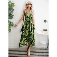 Sexy V Neck Camouflage Asymmetrical Dress Fashion Women Cros...