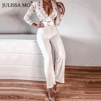 MO JULISSA élégante dentelle blanche sexy Jumpsuit femmes col en V Bandage larges jambes Barboteuses femmes Jumpsuit Bureau Ladies Tenues 2019