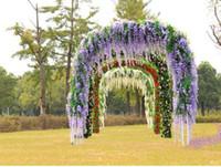 Nuovissimo fiore di simulazione giallo / blu / viola / bianco fiore di seta artificiale glicine vite decorazione della casa di nozze Douhua