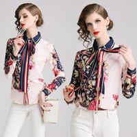 Nueva pista del verano 2019 de lujo OL de las mujeres de moda de la impresión floral de la pajarita del cuello blusas Tops casual de las señoras Botón de Recepción de manga larga camisas