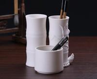 Seramik yuvarlak fırça depolama tüp retro çalışma dekorasyon süsler Çin tarzı masası kalem tutucu el sanatları
