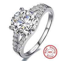 여성 인레이 소나 2 캐럿 CZ 다이아몬드 약혼 반지 925 스털링 실버 파인 쥬얼리 R290 레알 솔리드 실버 결혼 반지