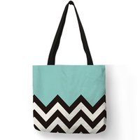 Mint Green Pink Purple Eco Tote Bag Black White Wave Printed...