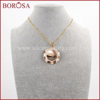"BOROSA 5 10PCS 16"" Gold Color Round Natural Shell Slice Pendant Necklace Jewelry For Women Girls As New Year Gift G1610-N"