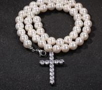 Einfaches Kreuz 10mm Perlen-Halsketten-Hip-Hop-Tendenz-Männer und Zusätze der Frauen Fabrik Wholesale freies Verschiffen