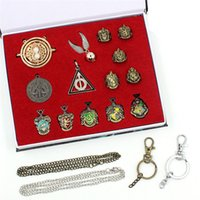 Vintage Potter Alloy Magic Wand Pendant Keychain Set Deathly...