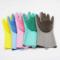 En gros 100 paires / lot Magique gants de lavage de vaisselle en silicone respectueux de l'environnement gant de nettoyage pour cuisine salle de bain