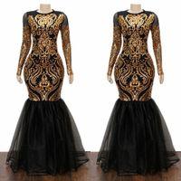 Abiti da ballo 2019 Nuova Abito da sera formale a maniche lunghe Party Pageant Gowns Gold Appliqued Lace Mermaid Special Occasione Plus Size 2K19