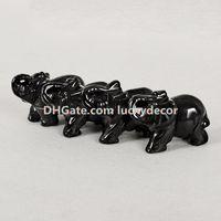 10 Pz Naturale Nero Ossidiana Gemstone Tasca Elefante Statua, Guarigione Cristallo Intagliato Elefante Scultura Animale Totem Spirito Pietra Figurina