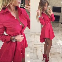 2020 New Dress feminino Doce ponto onda vestido Moda Sexy V-Neck Mini vestidos Autumn camisa de manga comprida Vestidos para as Vestido Y200623