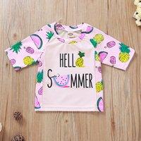 W459 الصيف بنات الطفل خطابات ملابس السباحة مجموعة أطفال الفاكهة المطبوعة قصيرة الأكمام بلايز + شورت 2PCS مجموعة الأطفال ملابس وتتسابق