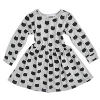 Cute Girls Kids Cartoon Cat Print Dress Long Sleeves Elastic Pleated A-line Spring Autumn Dresses