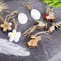 Estilo nórdico colgante de madera de conejo flor de pollo en forma de huevo ornamento para el día de Pascua suministros de decoración del hogar moda 4xb BB