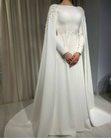 2020 White Long Sleeves A Line Wedding Dresses With Cape bat...
