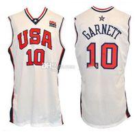 2000 Equipe Olímpica EUA Kevin Garnett # 10 Retro Basquete Jersey Mens Costume Personalizado Qualquer Número Nome Camisolas