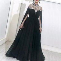 Black Sexy Long Evening Dresses 2019 Luxury High Neck Long S...