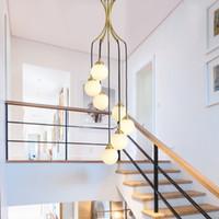 درج طويل الثريا الشمال الحديثة غرفة المعيشة قلادة مصابيح مطعم الإبداعي مصباح الدورية g9 الزجاج شنقا أضواء