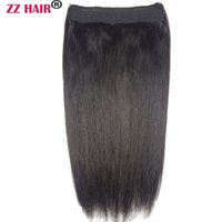 """16""""-28"""" One Piece Set 160g 100% Brazilian Remy Flip Human Hair Extensions Fish Line No Clips Natural Straight"""