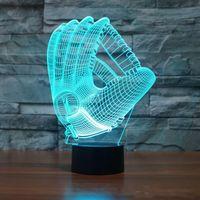 3D Beyzbol Eldiven Görsel Gece Lambası Akrilik 3D LED USB 7 Renk Değişimi LED Masa Lambası Yılbaşı