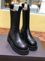 النساء الفاخرة التمهيد منصة مصمم أحذية النساء منتصف الساق الأحذية في STORM CUIR العلامة التجارية أصابع مربع الأحذية النسائية عارضة مريحة ل