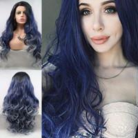 blu scuro con radici bianche nero sintetico Color Wave corpo capelli cosplay resistente fibra dei capelli pizzo anteriore parrucche di calore per capelli delle donne, partito