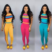 Women Striped Tracksuit Patchwork Sleeveless Pullover Pants ...