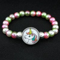 Unicorn Horse Flamingos Beads Bracelets 18mm Snap Buttons Wr...