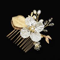 US Warehouse Headdress Dama de honra Pente lateral para Noiva Handmade Imitação Pérola Folhas De Cristal Cabelo Pins Hair Acessórios