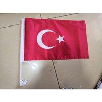 Banderas de Turquía de coches, 30x45cm con 43cm postes de plástico, Nacional 100D Poliéster 80% de purga, envío libre
