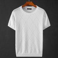 Мужские свитера 2021 летние меню шелка из рукава футболки вязаный свитер Weave высокое качество уличная одежда O шеи мужская марка L25