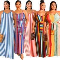 XL-5XL Frauen Slip Kleider Gestreiften Druck Maxi Kleid Spaghetti Strap Backless Lange Kleider Sleeveless einteiliger Rock Übergroße Strandkleider