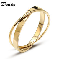 Donia jewelry luxury bangle European and American fashion double ring titanium steel bracelet two-color electroplating designer gifts